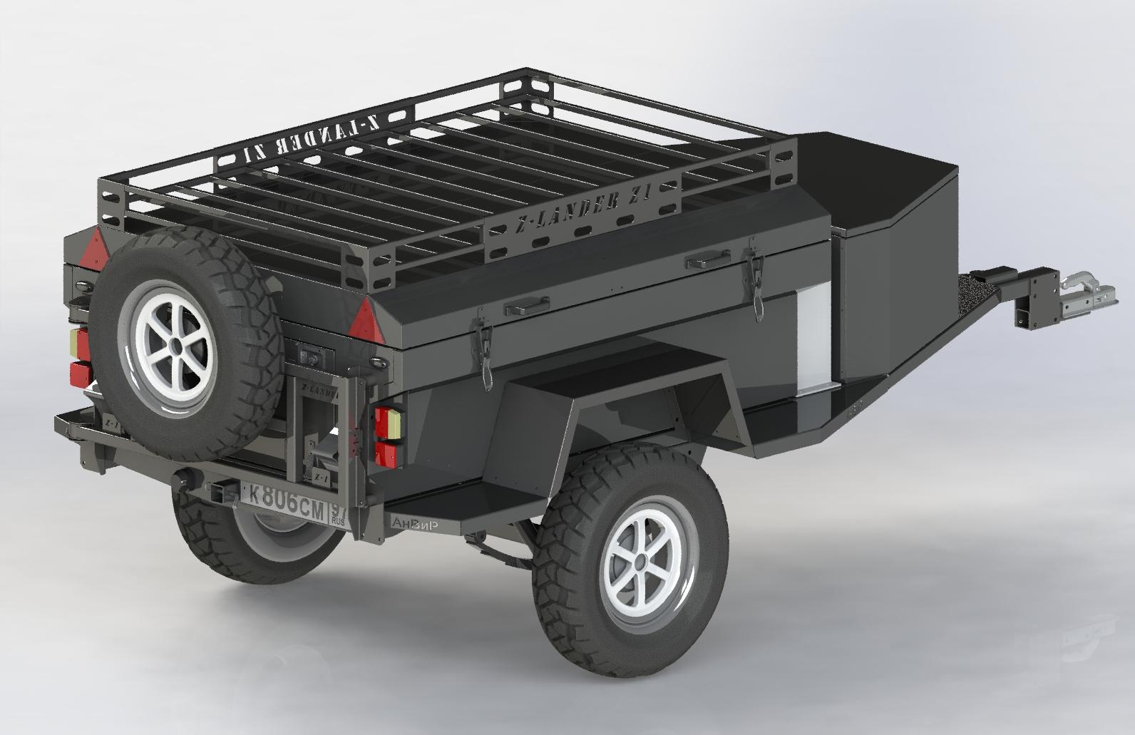 экспедиционный багажник, прицеп для уаз, прицеп авнир, внедорожный прицеп